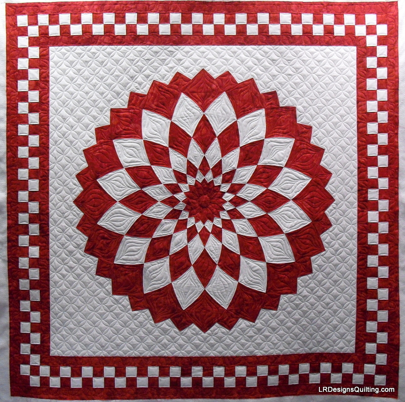 Giant Dahlia Quilt Images : Red and White Giant Dahlia