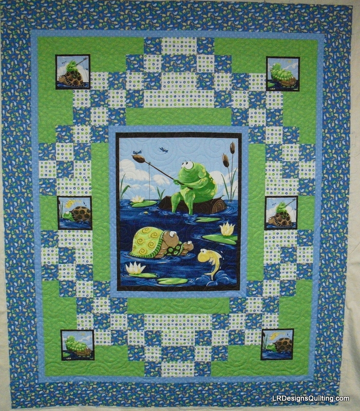 Baby Quilt Patterns Using A Panel : Frog and Turtle baby quilt